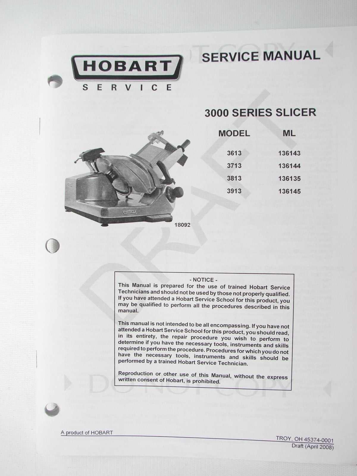 Hobart 3000 Series Slicers Instructions, and 50 similar items