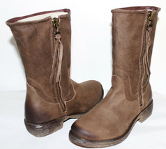 ✿STEVEN Steve Madden Madeira Antiqued Premium Leather Zip Boots 7 M NEW!... - $80.74