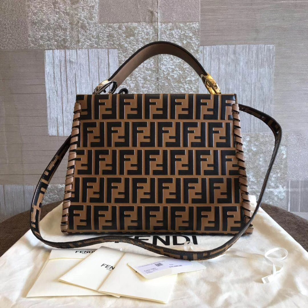 NWT 100% AUTHENTIC FENDI 2019 KAN I LEATHER 2-WAY BAG FENDI Logo RARE