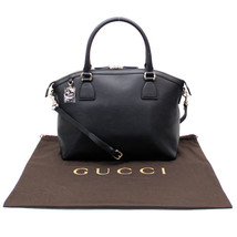 GUCCI BAG CONVERTIBLE BLACK LEATHER BRITT DOME HANDBAG GG LOGO CHARM 449651 - $574.64