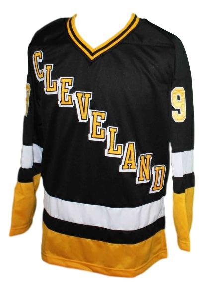 Quinn  9 custom cleveland lumberjacks retro hockey jersey black   1