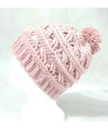 Beanie Hat women Handmade Crochet Winter Knit Lace Pink Rose Pompom - $23.76