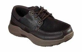 Men's Skechers Relaxed Fit Expended Menson Boat Shoe Dark Brown - $98.63