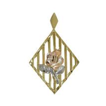 14k Tri Tone Gold Diamond Cut Rose Charm - $147.51