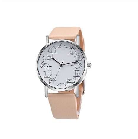 Round Lovely Cartoon Cat Watches Leather Strap Women Casual Wristwatch image 3