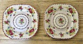 Royal Albert Petit Point 2 Square Dessert Plates Needlepoint Floral Engl... - $23.36