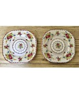 Royal Albert Petit Point 2 Square Dessert Plates Needlepoint Floral Engl... - $23.36