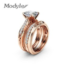New Brand 2pc/set AAA Square Zircon Ring Set Rose Gold Color Wedding Rin... - $7.90