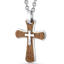 Stainless Steel & Copper Cobblestone Cross Pendant - $59.99