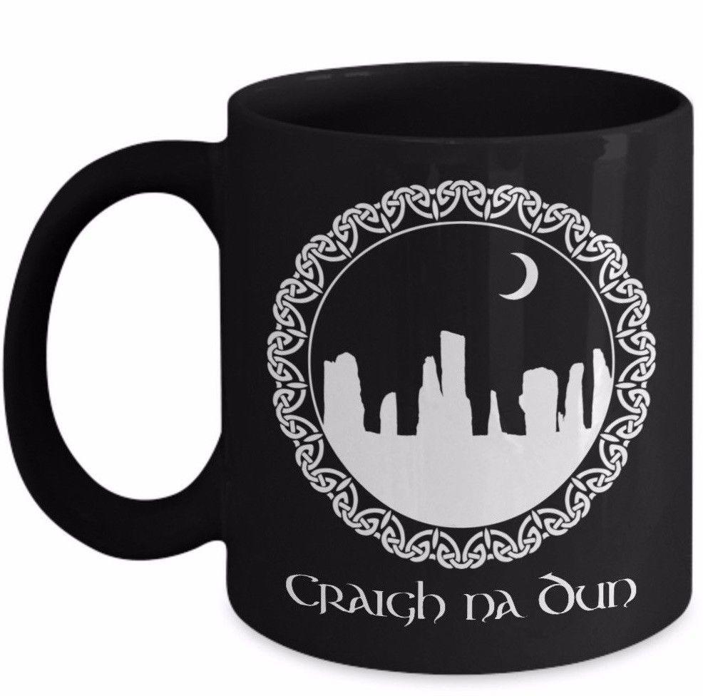Outlander Mug Gift Craigh Na Dun Standing Circle Sassenach Claire Black Ceramic