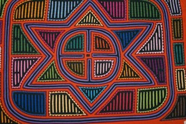 Kuna Geometric Abstract Art Mola Hand Stitched Applique Northern Star Pa... - $75.99