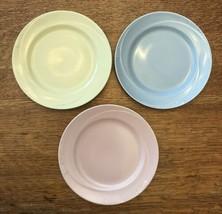 """Bread & Butter Plates Set Of 3 SERENADE Homer Laughlin 6 1/8"""" Blue Pink Yellow - $42.95"""