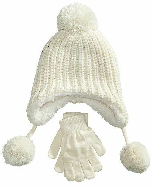 Primary image for Designer MACY'S Berkshire Girls' 2-Pc Knitted Hat Scarf Gloves Set Ivory