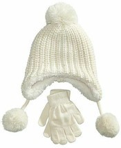 Designer MACY'S Berkshire Girls' 2-Pc Knitted Hat Scarf Gloves Set Ivory - $9.49