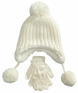 Designer MACY'S Berkshire Girls' 2-Pc Knitted Hat Scarf Gloves Set Ivory - £6.96 GBP