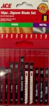 Ace 2204246 Jig Saw Blade Set U-Shank 18-Pieces Wood & Metal Swiss - $5.45