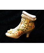 Vintage LIMOGES CHINA Shoe Hand Painted Porcelain Applied Lace Lady Boot - $24.00