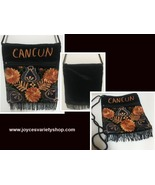 CANCUN Embroidered Velveteen Cross Body Purse Pouch Rope Strap Golds Floral - $6.99