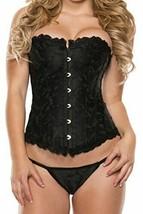 Starline Women's Jacquard Corset, Black, Large w G-String Panty NEW - $24.74