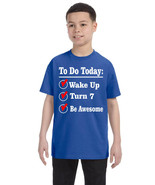 Kids Birthday T Shirt Turn 7 Seven Year Old Gift 7th Bday Outfit Fun - $18.94