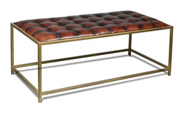"48""L  Brown Leather Ottoman/Table Bench Iron Open Base - $1,183.05"