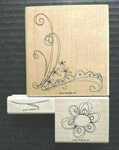 Stampin Up Rubber Stamp Lot Blooming Single Flower Stem Floral Corner Bo... - $21.59