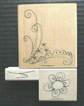 Stampin Up Rubber Stamp Lot Blooming Single Flower Stem Floral Corner Bo... - $21.59
