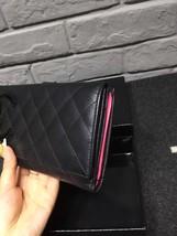 AUTHENTIC CHANEL Rue Cambon Black Hot Pink Lambskin Bi-Fold Wallet Clutch Bag image 4