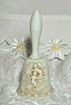 "Vintage LEFTON Egg Shell White Bisque Raised Relief Cherubs Bell  w/ Ringer 5"" image 1"