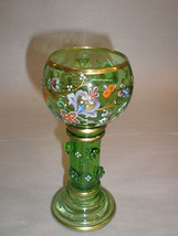 Antique Moser Green Glass Wine Stem Hand Painted - $325.71