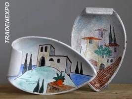 2xVintage 50's HERTA HUBER-ROETHE Garda Plate Bowl Set German Fat Lava V... - $21.77