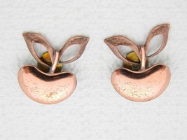VTG RARE Matisse RENOIR Signed Genuine Copper APPLE Clip Earrings - $23.76