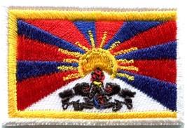 Flag of Tibet Tibetan Buddhist snow lion applique iron-on patch new Med.... - $2.79