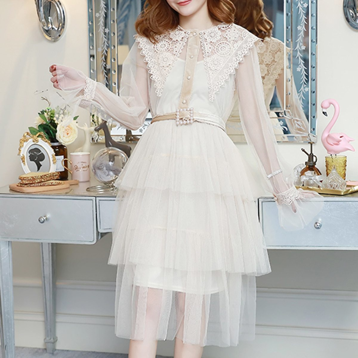 Maternity Dress Solid Color Lace Patchwork Waist Tied Dress image 4
