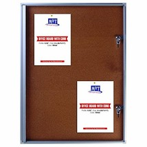 Cork Enclosed Bulletin Board For Outdoor Use With Locking Door 19x25 - S... - $104.83