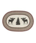 RuffHewn Herringbone Moose Tree Christmas Oval Country Cabin Accent Rug ... - £22.98 GBP