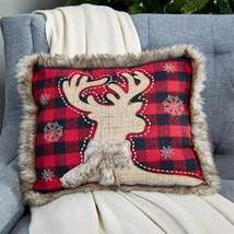 "14"" Faux Fur Trimmed Plaid Pillows - Deer"