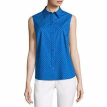 Liz Claiborne Women's Sleeveless Button Front Shirt X-LARGE Blue Polka Dot New - $24.94