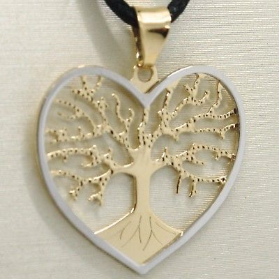 18K YELLOW WHITE GOLD TREE OF LIFE PENDANT CHARM HEART 0.9 INCHES MADE IN ITALY