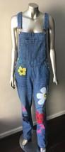 Denim Overalls Graffiti JeanS Vtg 90s Jumpsuit Flower Floral Baggy Hippi... - $45.47