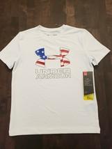 Under Armour Heat Gear Boys White American Flag Logo T-Shirt [Size Youth L] - $16.83