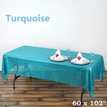 BalsaCircle 60x102 Sequin RECTANGULAR Tablecloth - Turquoise - $26.24