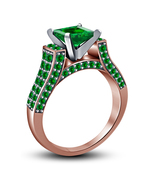 Princess Cut Green Sapphire Womens Engagement Ring 14k Rose Gold Over 92... - $72.99