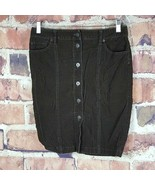 Ann Taylor Loft Corduroy Skirt Womens Size 4 Button Front Brown Flap Poc... - $19.79