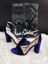 ✨New SAM EDELMAN Yaro Velvet Ankle Strap Sandals Deep Purple Women's 8M ... - $51.43