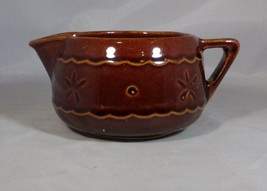 "Pitcher Cream Pottery Solid Brown Shiny Glaze Flower Side USA 2.75"" Tall... - $4.95"