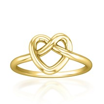 Valentine Gift Infinity Heart Ring Love Knot Ring 14k Yellow Gold Fn 925... - $29.69