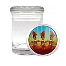 Tiki Statues D8 ODORLESS AIR TIGHT MEDICAL GLASS JAR CONTAINER Polynesian - $10.84