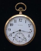Antique Gold-Filled 1912 ELGIN Pocket Watch - 1 3/4 inches - FREE SHIPPING - £69.82 GBP