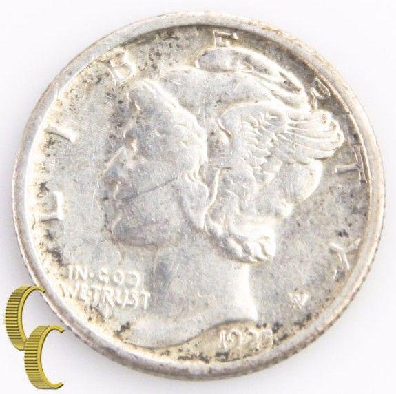 1925-S Mercury Dime (Extra Fine+, XF+) Key Date San Francisco 10c EF+ KM-140 - $88.11